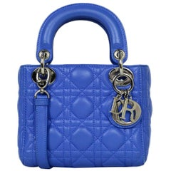 Christian Dior Blue Lambskin Cannage Quilted Mini Lady Dior Crossbody Bag