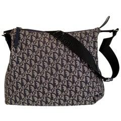 Christian Dior Blue Logo Tapestry Canvas Large Messenger Bag