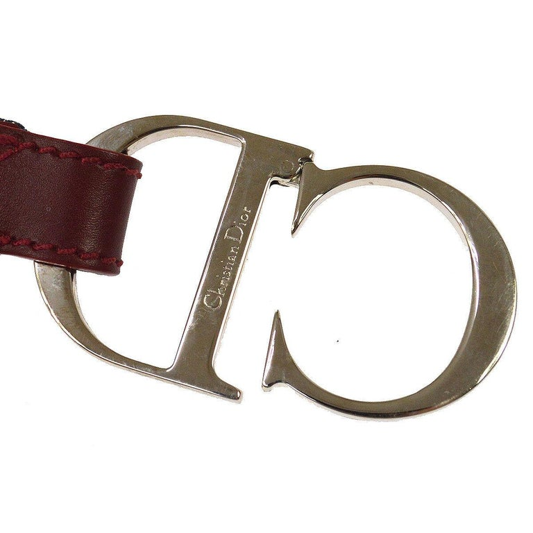 Christian Dior Blue Monogram Red Leather Silver Large 'CD' Logo Waist Belt  Fabric Leather Metal Silver tone Velcro closure Width 1