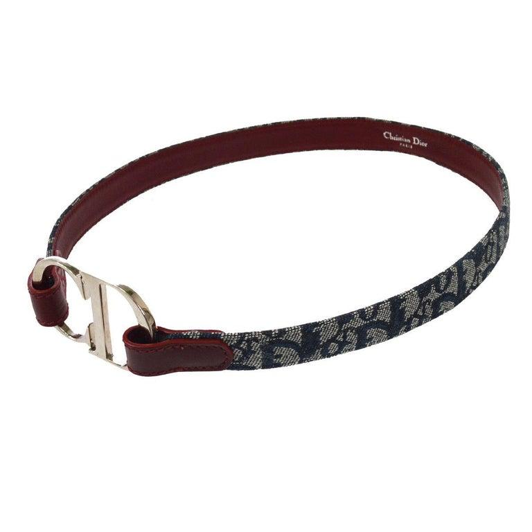 Black Christian Dior Blue Monogram Red Leather Silver Large 'CD' Logo Waist Belt For Sale
