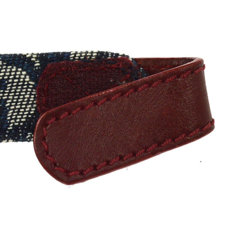 Christian Dior Blue Monogram Red Leather Silver Large 'CD' Logo Waist Belt In Good Condition For Sale In Chicago, IL