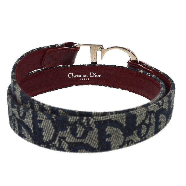Women's Christian Dior Blue Monogram Red Leather Silver Large 'CD' Logo Waist Belt For Sale