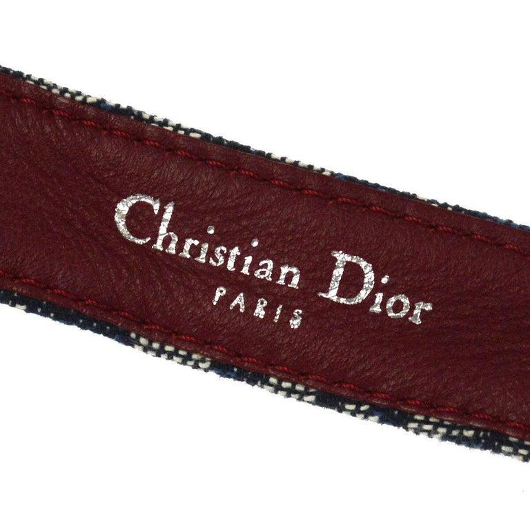 Christian Dior Blue Monogram Red Leather Silver Large 'CD' Logo Waist Belt For Sale 1