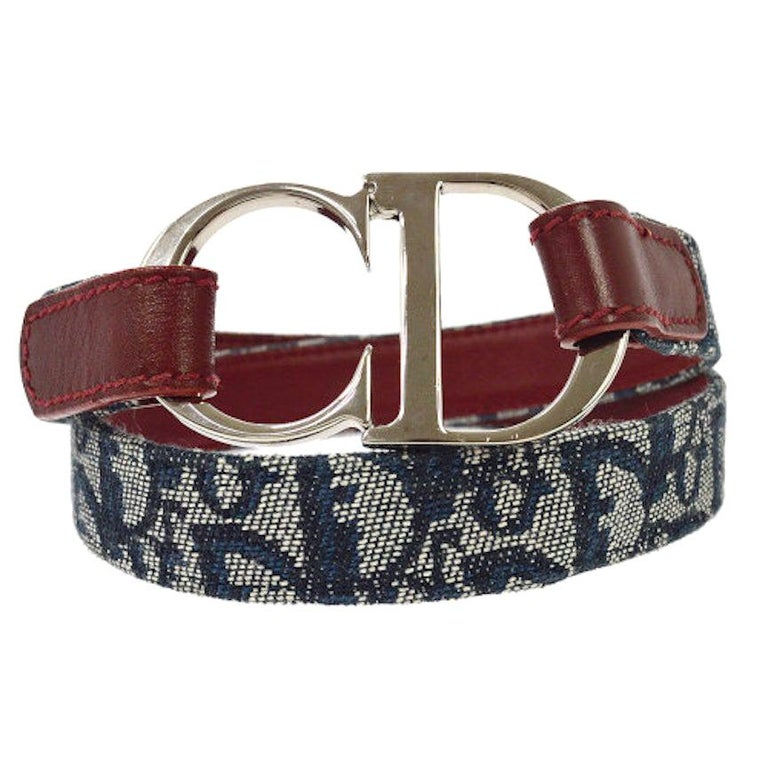 Christian Dior Blue Monogram Red Leather Silver Large 'CD' Logo Waist Belt For Sale
