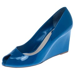 Christian Dior Blue Patent Leather Peep Toe Wedge Pumps Size 38