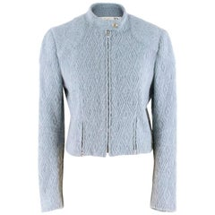 Christian Dior Blue Wool-blend Cropped Jacket SIZE 8