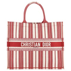 Christian Dior Book Tote Bayadere Stripe Embroidered Canvas