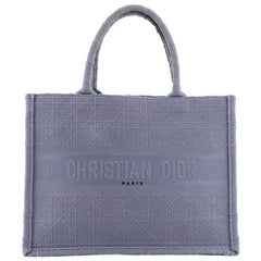 Christian Dior Book Tote Cannage Embroidered Canvas Small