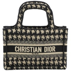 Christian Dior Book Tote Houndstooth Canvas Mini