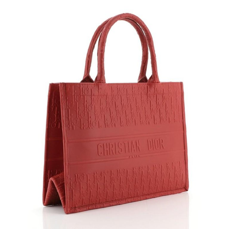 Red Christian Dior Book Tote Oblique Embossed Calfskin Small For Sale