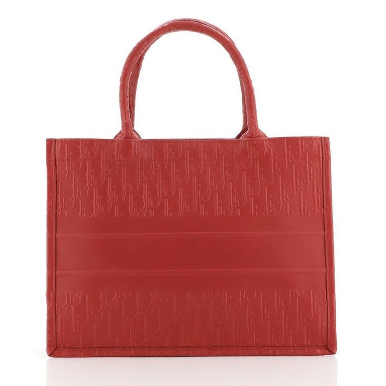 Christian Dior Book Tote Oblique Embossed Calfskin Small In Good Condition For Sale In New York, NY