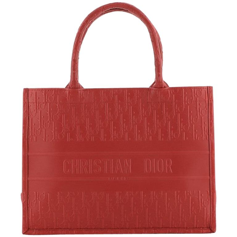 Christian Dior Book Tote Oblique Embossed Calfskin Small For Sale