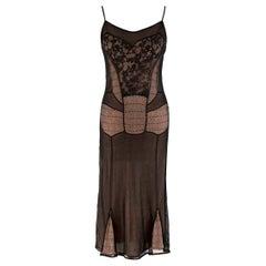 Christian Dior Boutique Black & Nude Lace Dress - Size L