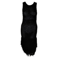 Christian Dior Boutique Black Wool Looped Fringe Wide Hem Runway Crochet Dress