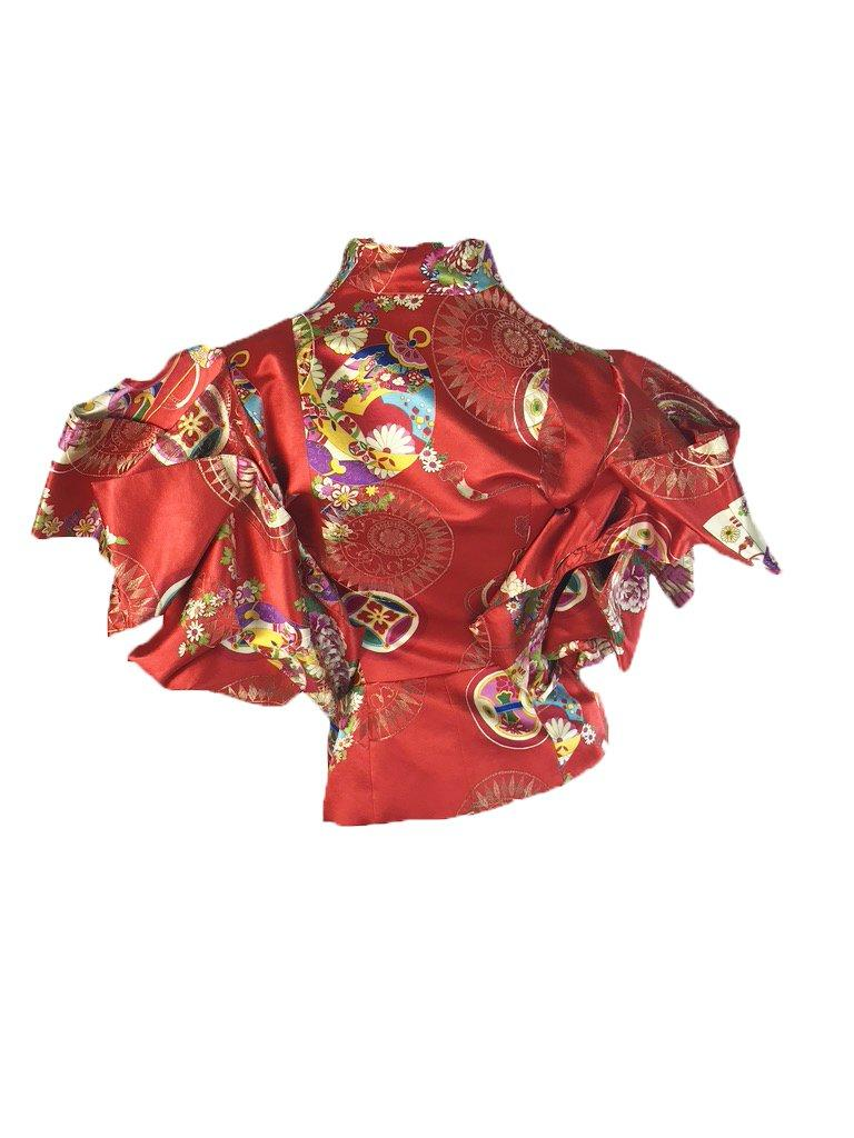 Brown Christian Dior Boutique by Galliano red printed jacket with exaggerated sleeves For Sale