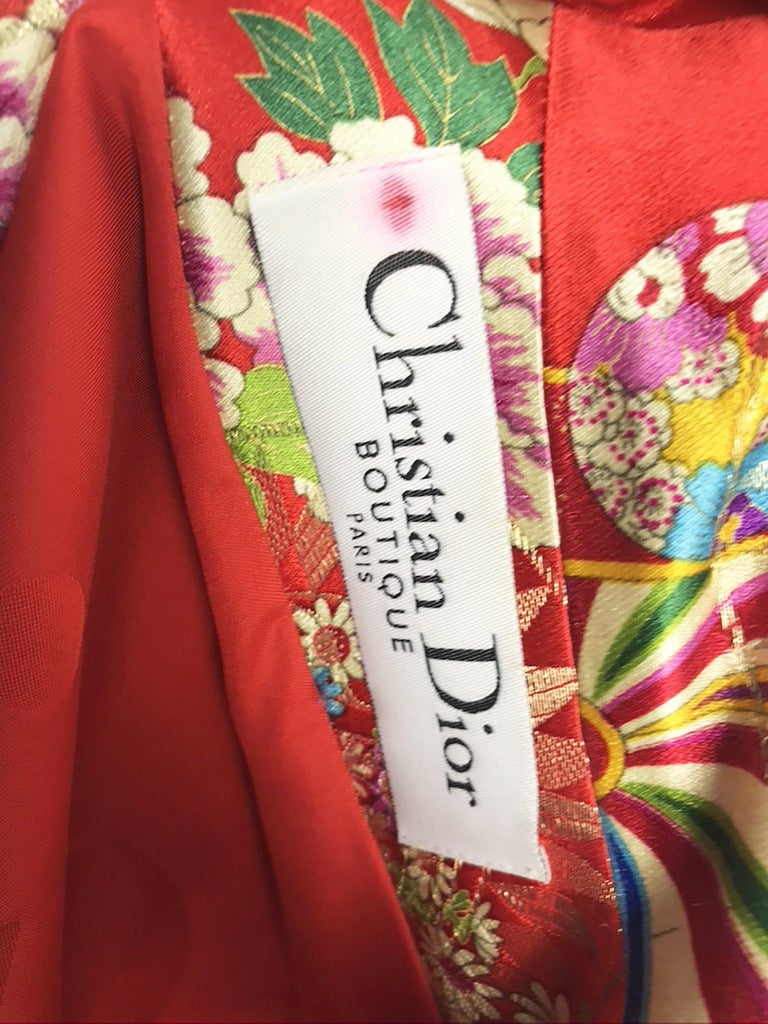 Christian Dior Boutique by Galliano red printed jacket with exaggerated sleeves In Excellent Condition For Sale In Austin, TX