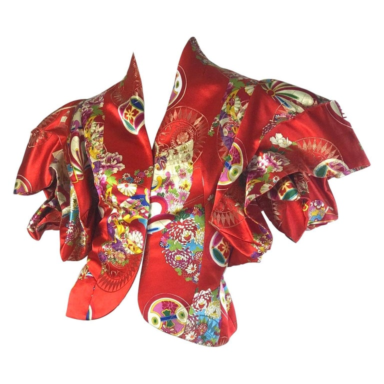 Christian Dior Boutique by Galliano red printed jacket with exaggerated sleeves For Sale