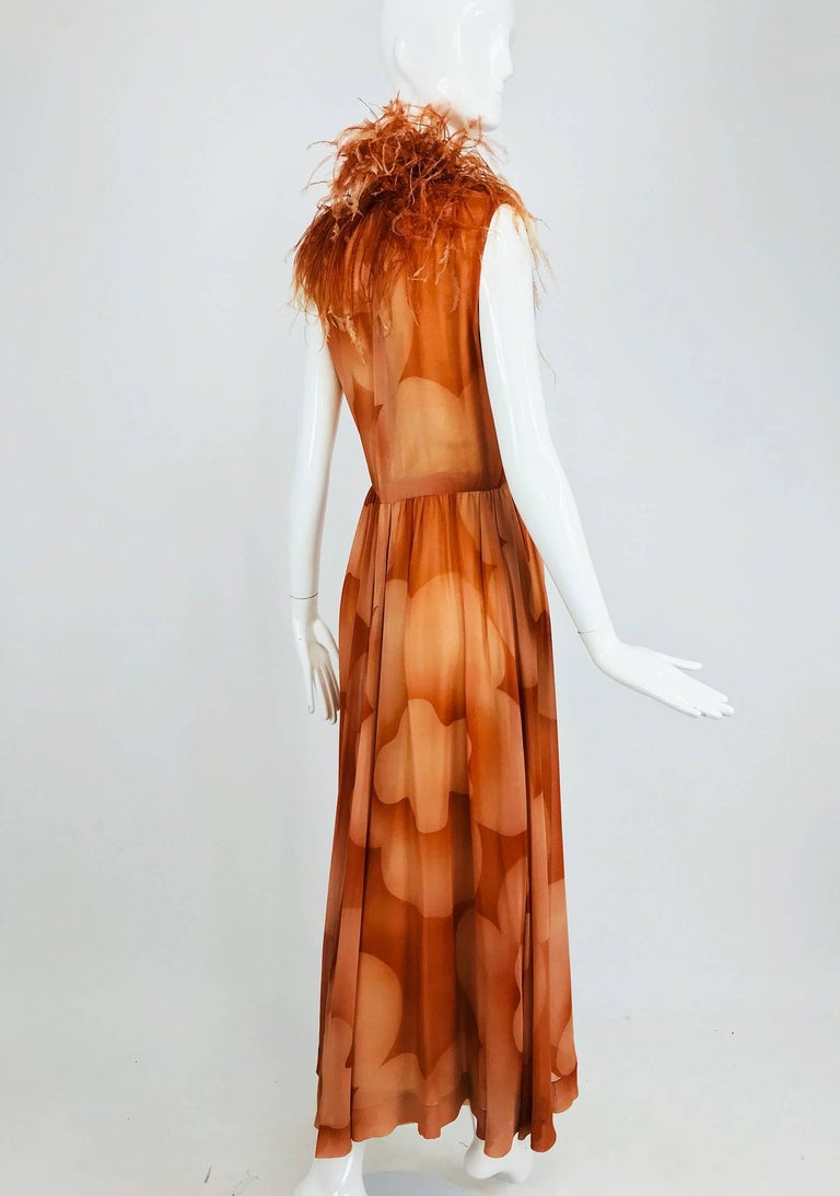 Christian Dior Boutique numbered silk chiffon feather trimmed maxi dress, 1960s For Sale 5
