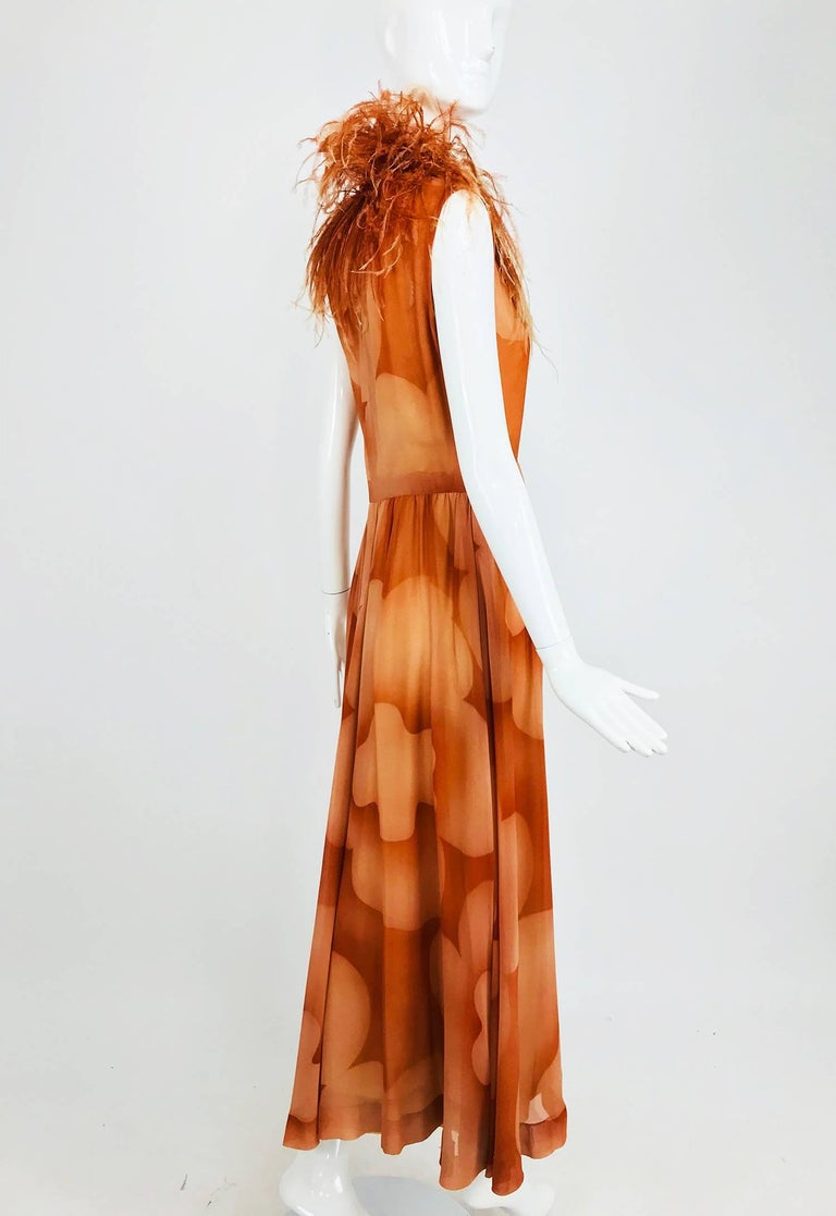 Christian Dior Boutique numbered silk chiffon feather trimmed maxi dress, 1960s For Sale 6
