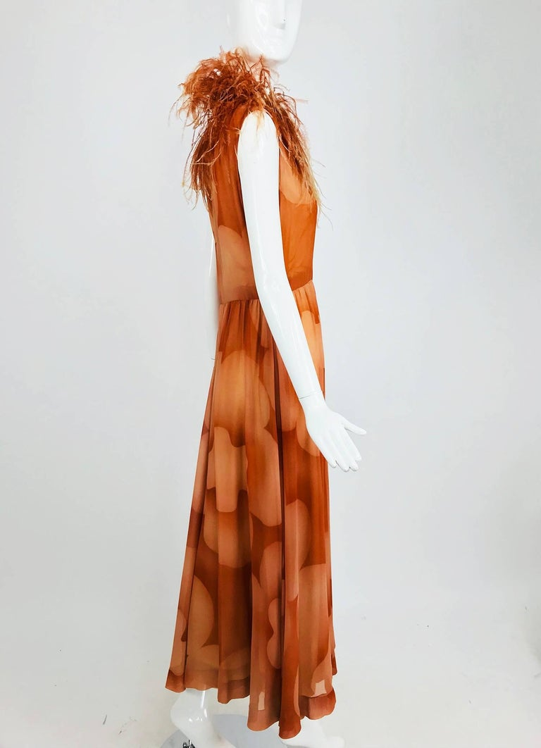 Christian Dior Boutique numbered silk chiffon feather trimmed maxi dress, 1960s For Sale 7