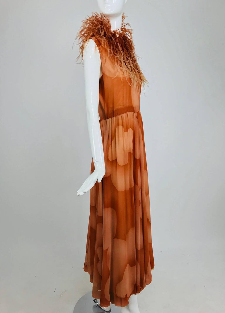 Christian Dior Boutique numbered silk chiffon feather trimmed maxi dress, 1960s For Sale 9