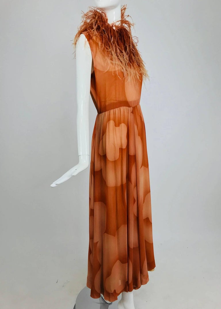 Christian Dior Boutique numbered silk chiffon feather trimmed maxi dress, 1960s For Sale 10