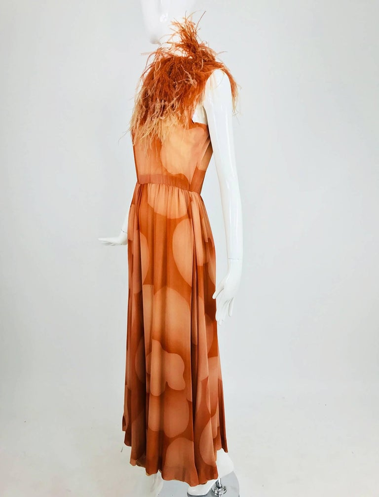 Brown Christian Dior Boutique numbered silk chiffon feather trimmed maxi dress, 1960s For Sale