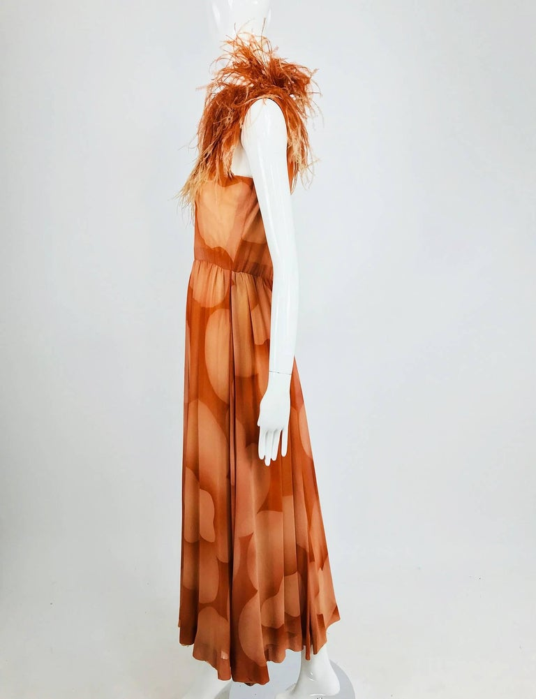Christian Dior Boutique numbered silk chiffon feather trimmed maxi dress, 1960s In Excellent Condition For Sale In West Palm Beach, FL