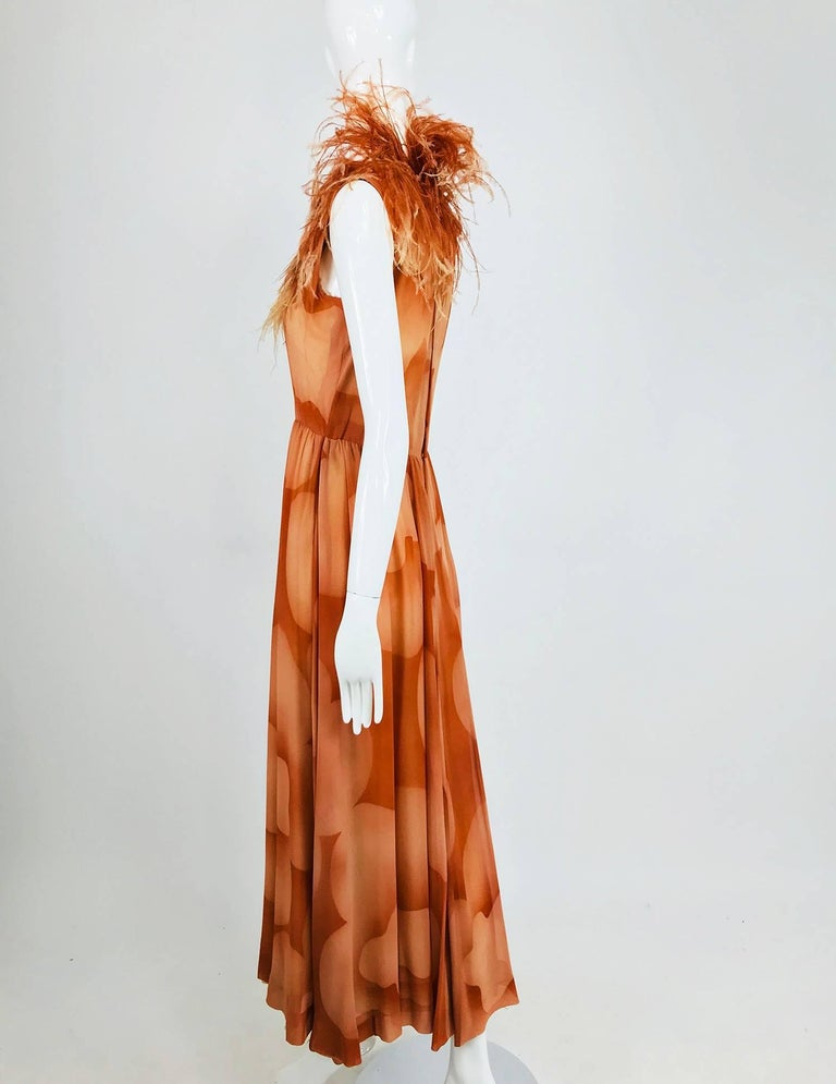 Women's Christian Dior Boutique numbered silk chiffon feather trimmed maxi dress, 1960s For Sale