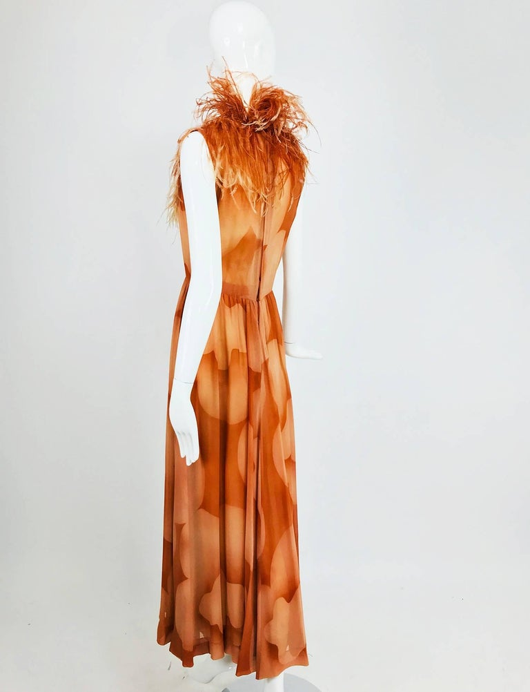 Christian Dior Boutique numbered silk chiffon feather trimmed maxi dress, 1960s For Sale 1