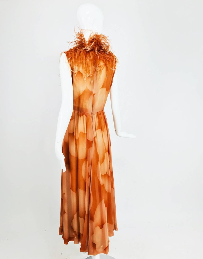 Christian Dior Boutique numbered silk chiffon feather trimmed maxi dress, 1960s For Sale 2