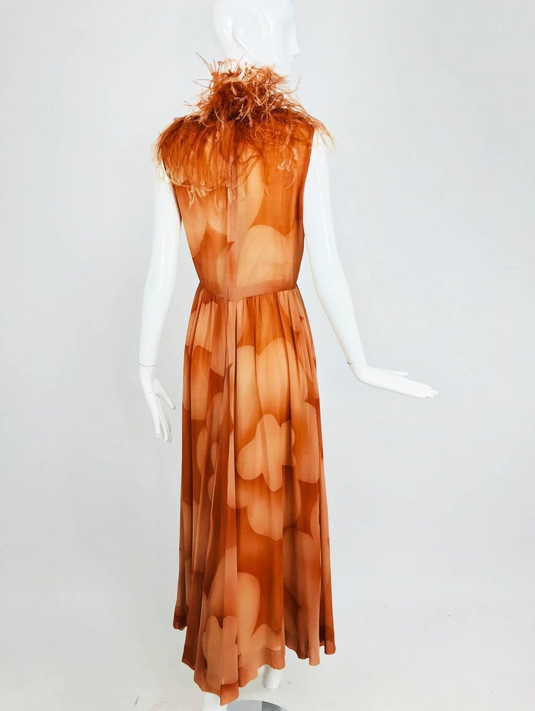 Christian Dior Boutique numbered silk chiffon feather trimmed maxi dress, 1960s For Sale 4