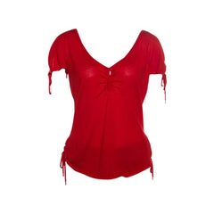 Christian Dior Boutique Red Cashmere Knit Raglan Sleeve V Neck Top L