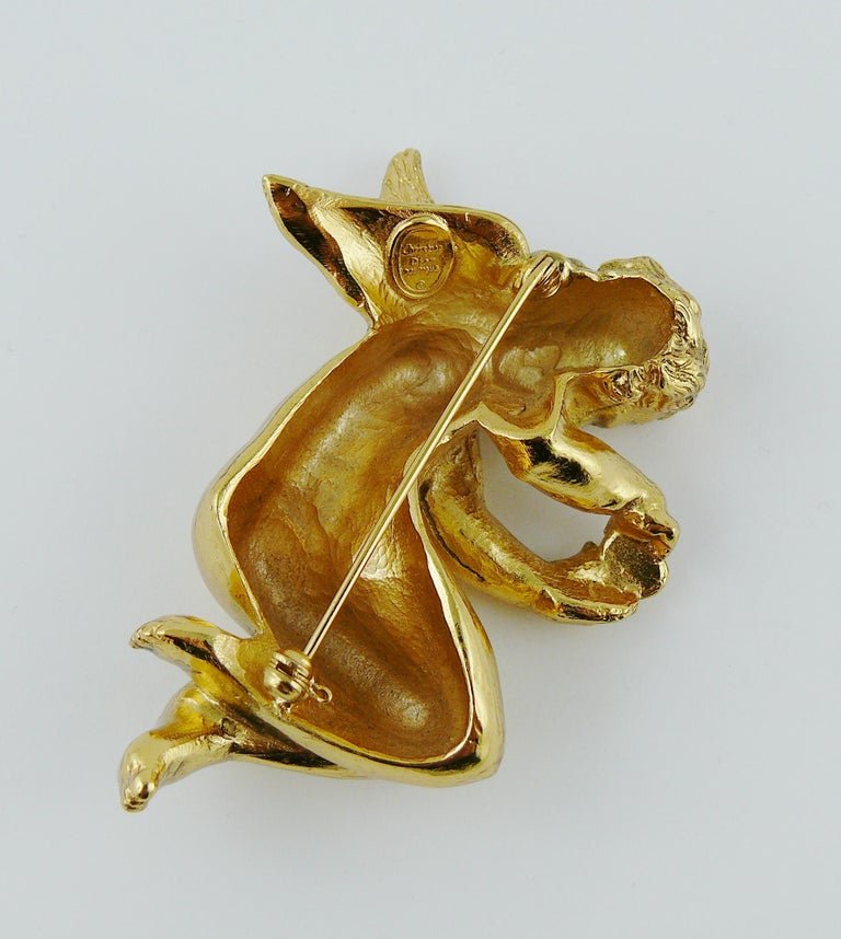 Christian Dior Boutique Vintage Gold Toned Cherub Brooch For Sale 2