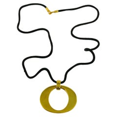 Christian Dior Boutique Vintage Gold Toned Signature O Pendant Necklace