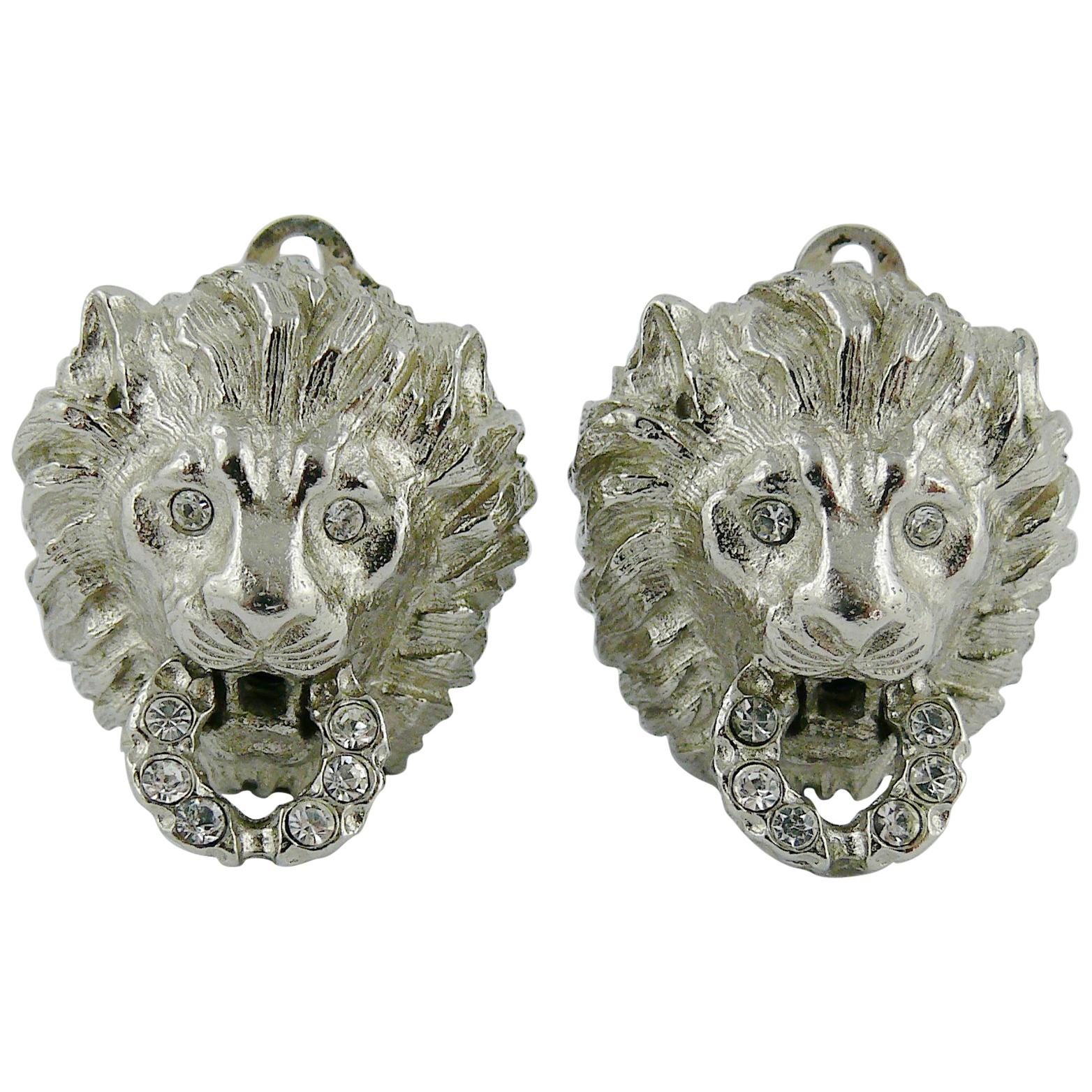Christian Dior Boutique Vintage Jewelled Silver Tone Lion Door Knocker  Earrings