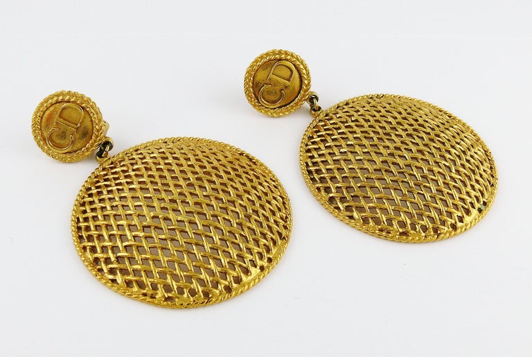Women's Christian Dior Boutique Vintage Massive Gold Toned Dangling Earrings For Sale