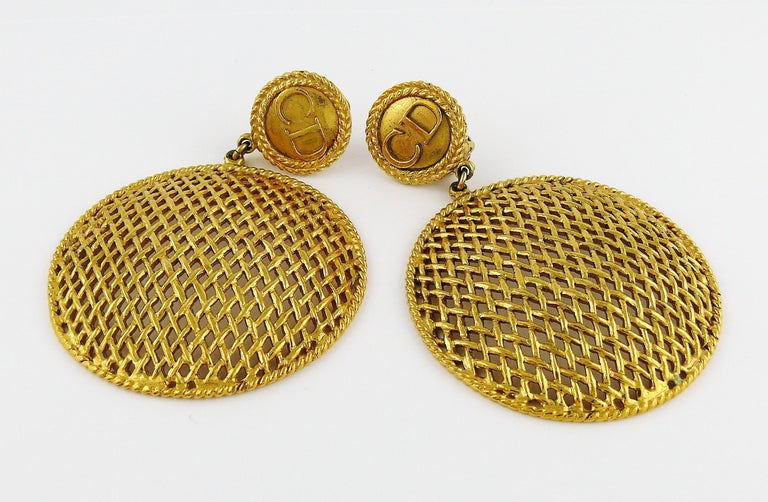 Christian Dior Boutique Vintage Massive Gold Toned Dangling Earrings For Sale 2