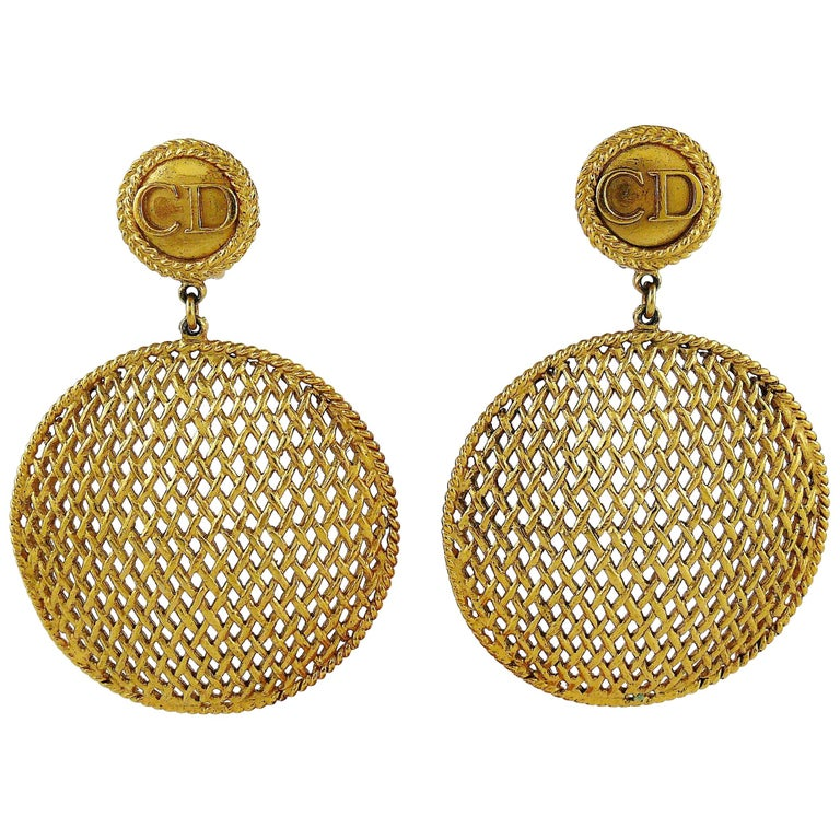 Christian Dior Boutique Vintage Massive Gold Toned Dangling Earrings For Sale