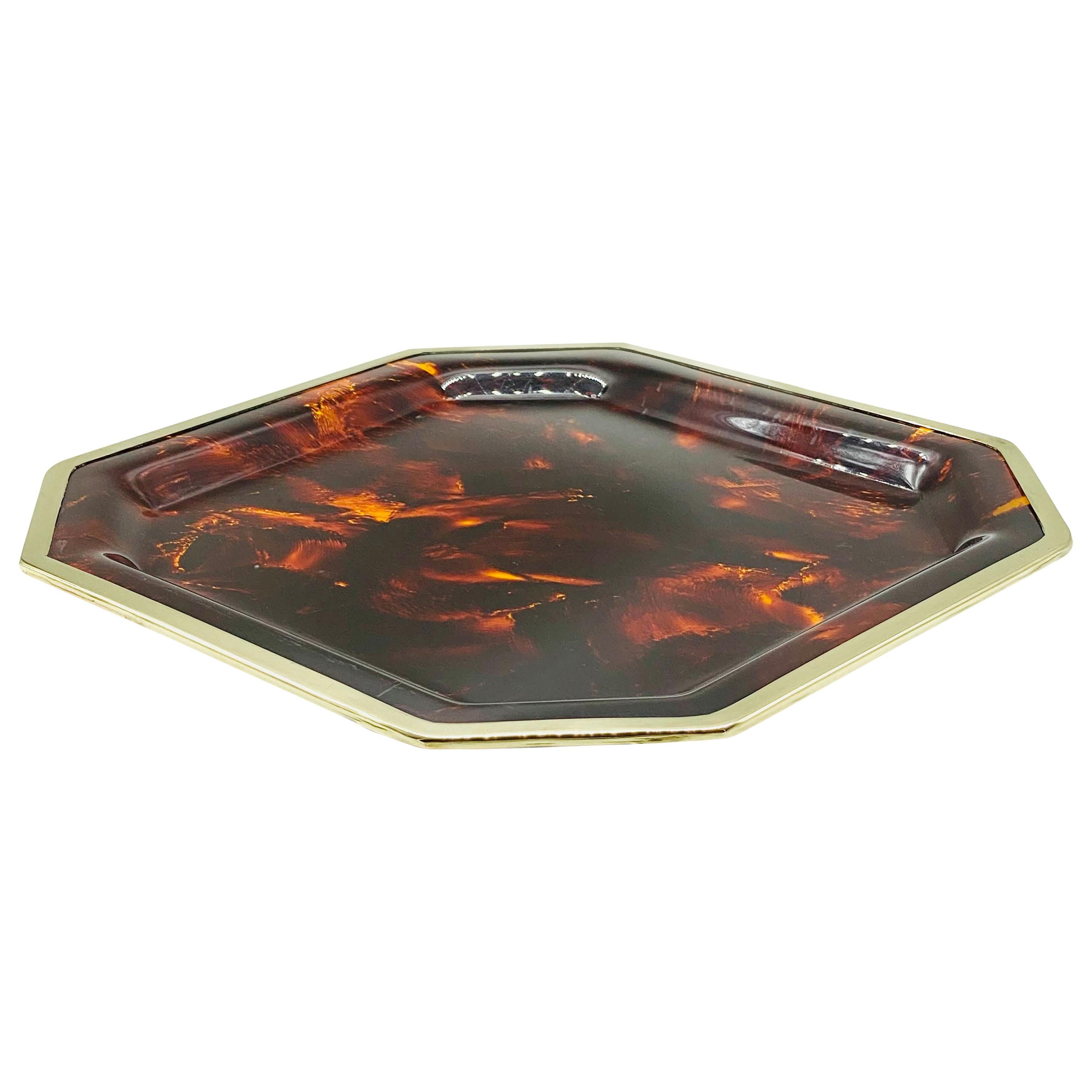 Christian Dior Brass and Faux Tortoise Octagonal Tray, 1970s