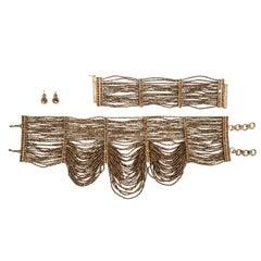 Christian Dior bronze beaded choker, bracelet and earrings set, ss 1999