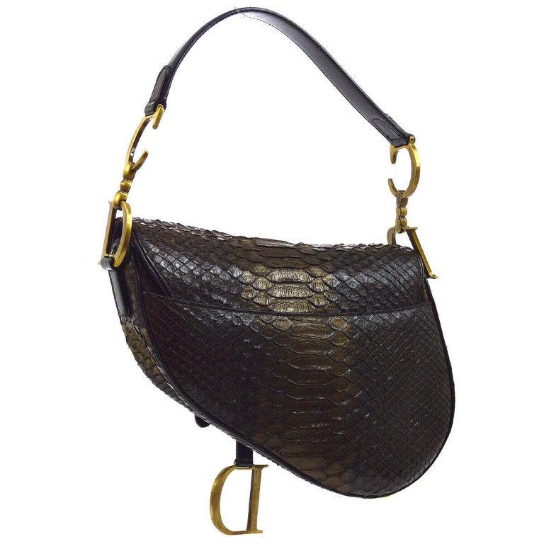 Black Christian Dior Brown Gold Exotic Snakeskin  Leather 'CD' Logo Charm Shoulder Bag For Sale
