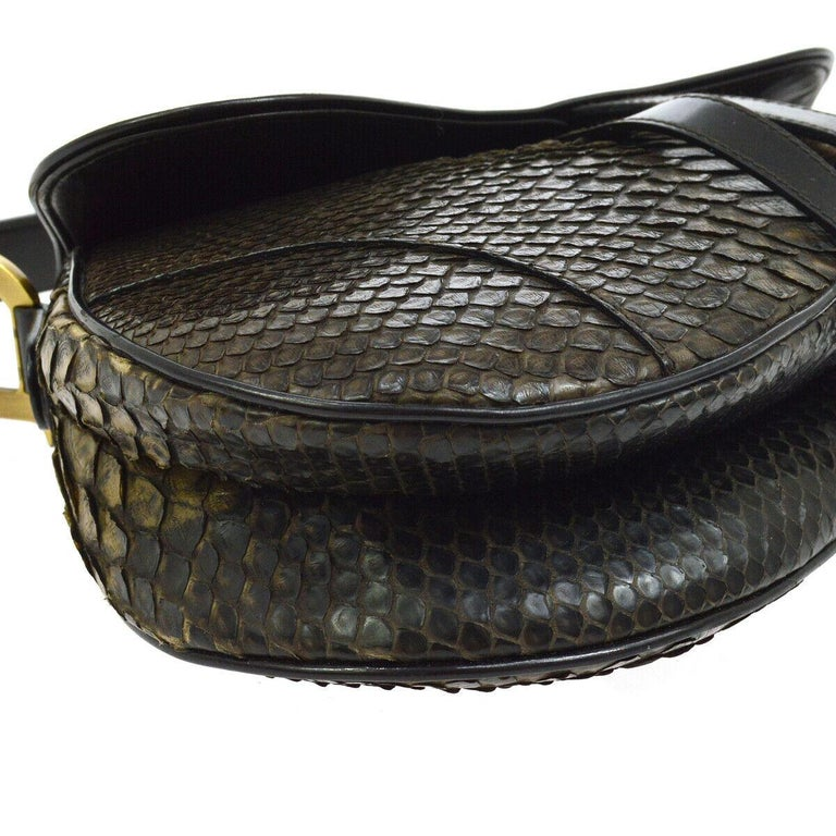 Christian Dior Brown Gold Exotic Snakeskin  Leather 'CD' Logo Charm Shoulder Bag In Good Condition For Sale In Chicago, IL