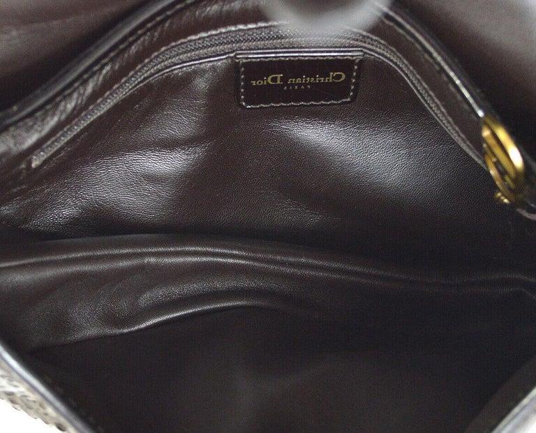 Women's Christian Dior Brown Gold Exotic Snakeskin  Leather 'CD' Logo Charm Shoulder Bag For Sale