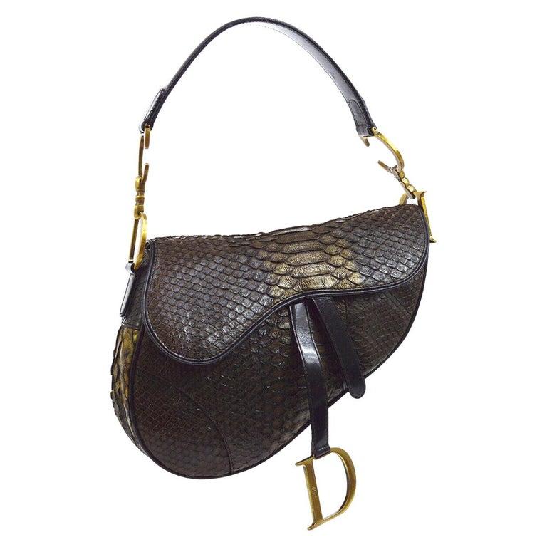 Christian Dior Brown Gold Exotic Snakeskin  Leather 'CD' Logo Charm Shoulder Bag For Sale