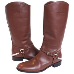 Christian Dior Brown Leather Boots Size 38.5