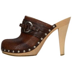 Christian Dior Brown Leather CD Clogs sz 37
