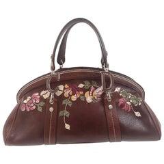 Christian Dior Brown Leather flowers frame satchel /  handbag
