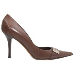 Christian Dior Brown Leather Pointed-Toe Pumps