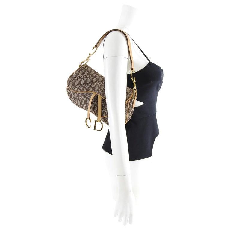 eaef6a480e8 Christian Dior Brown Monogram Logo Double Saddle Bag. Iconic John Galliano  design for Christian Dior